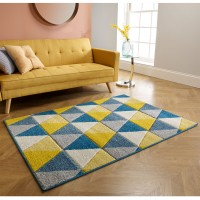 Portland Geometric Rug - 663L Blue Yellow Cream