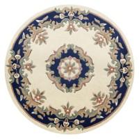 Royal Traditional Circle Rug - Cream Blue