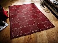 Anti Slip Checked Flatweave Rug - Red