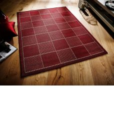 Anti Slip Checked Flatweave Rug - Red