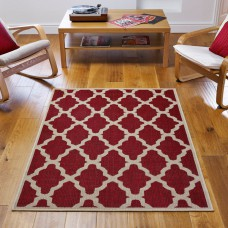 Trellis Anti Slip Flatweave Red Rug