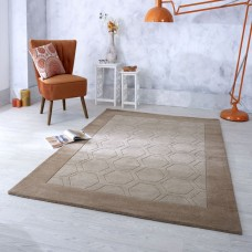 Hex Border Geometric Wool Rug - Beige