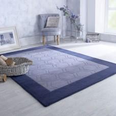 Hex Border Geometric Wool Rug - Grey