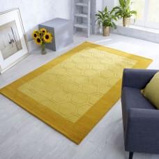 Hex Border Geometric Wool Rug - Mustard