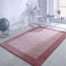 Hex Border Geometric Wood Rug - Pink