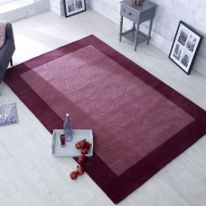 Hex Border Geometric Wool Rug - Purple