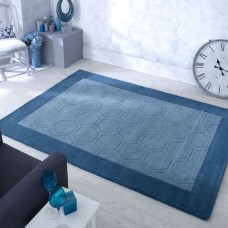 Hex Border Geometric Wool Rug - Teal