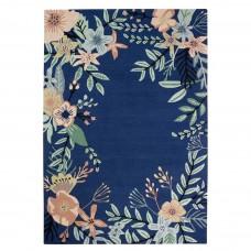 Meadow Floral Wool Rug - Blue