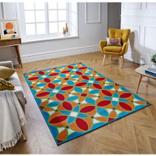 Siena Geometric Modern Rug - 4261B Blue Orange Red