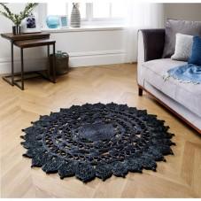 Zarla Circle Jute Rug - Black