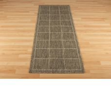 Anti Slip Checked Rugs Flatweave Grey Runners