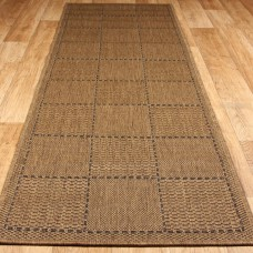 Anti Slip Checked Flatweave Runner - Natural
