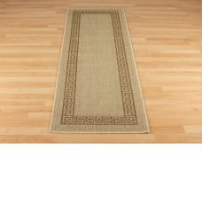 Greek Anti Slip Flatweave Rugs - Beige Runner