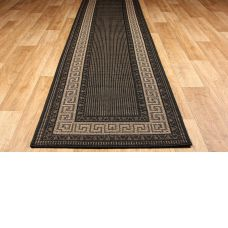 Greek Anti Slip Flatweave Rugs - Black Runner