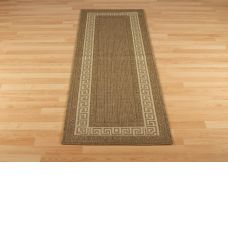 Greek Anti Slip Flatweave Rugs - Brown Runners