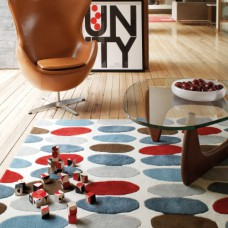 Matrix Sofia Red / Teal Thick Wool Rug - Max33