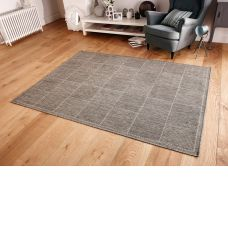 Anti Slip Checked Rugs Flatweave Grey Rug