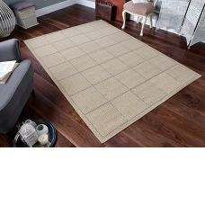Anti Slip Checked Flatweave Beige Rug