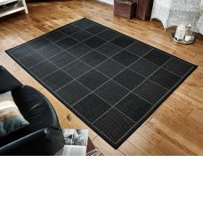 Anti Slip Checked Flatweave Black Rug