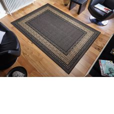 Greek Anti Slip Flatweave Rugs - Black Rug