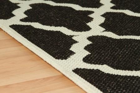 Trellis Anti Slip Flatweave Black Rug