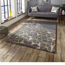 Spectrum Wool Rugs -  Grey & Yellow & Pink Star