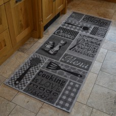 Modern Kitchen Rugs - Grey Menu Mat