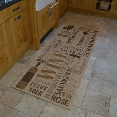 Modern Kitchen Rugs - Beige & Brown Wine Mat