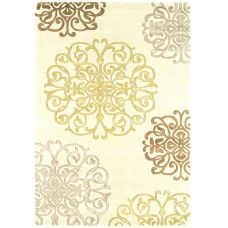 Matrix Cream / Gold Thick Wool Petal Rug - Max44