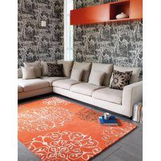 Matrix Orange / Terracotta Thick Wool Petal Rug - Max43