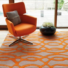Matrix - Wire Orange / Grey Thick Wool Rug - Max37