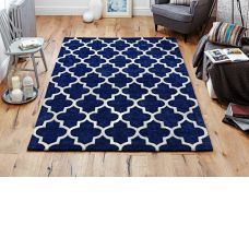 Scrolls Blue Wool & Viscose Rugs