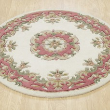 Royal Traditional Circle Rug - Cream Rose