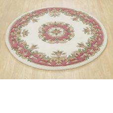 Royal Traditional Circle Rug - Cream Rose