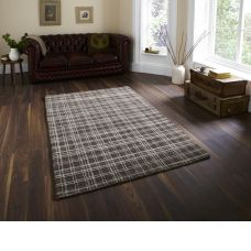 Cambridge Hand Knotted Checked Area Wool Rug - Taupe Rugs