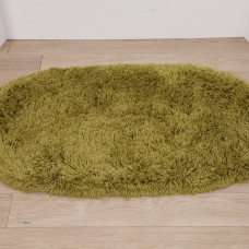 Washable Rugs - Deep Shag Pile Green Oval Mats