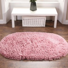 Washable Rugs - Deep Shag Pile Pink Oval Mats