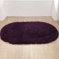 Washable Rugs - Deep Shag Pile Purple Oval Mats
