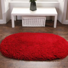 Washable Rugs - Deep Shag Pile Red Oval Mats