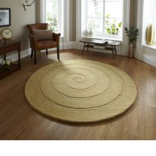 Spiral Gold Circle Rug - Contemporary Luxury Wool Circular Rugs