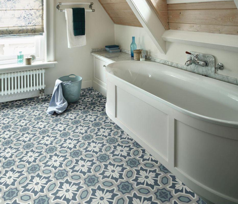 Eleanor Blue Bathroom Vinyl