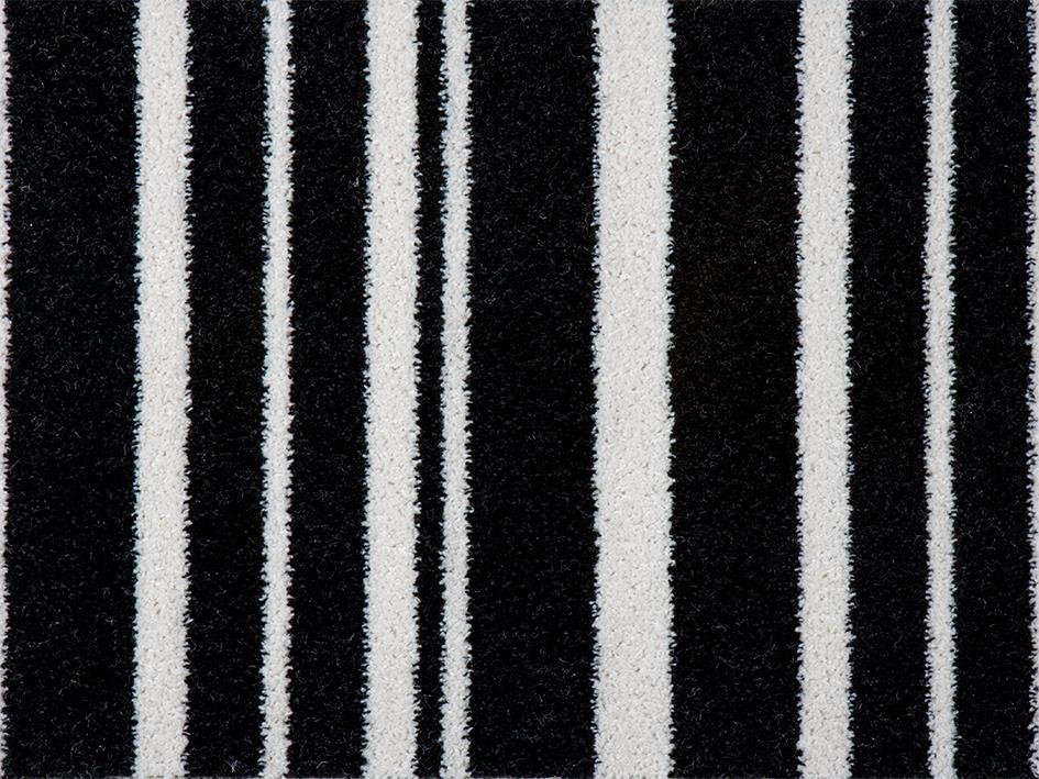 Black White Stripe Carpet Hardwearing Stairs Landing