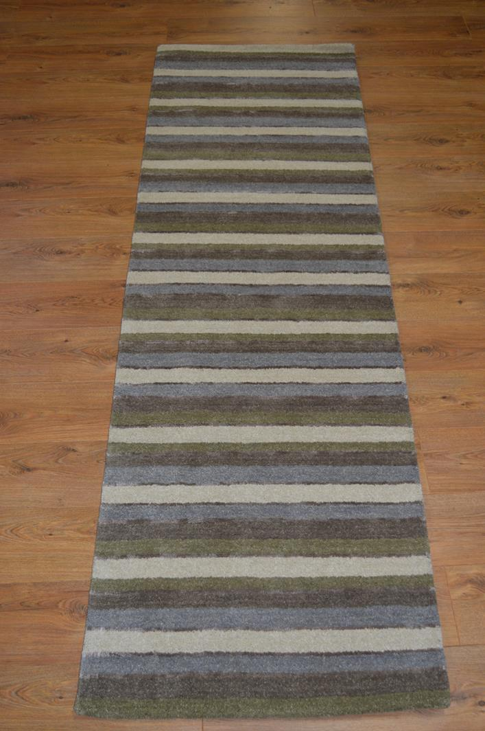 Stripes luxury wool runner green blue cream rug for Green and cream rugs