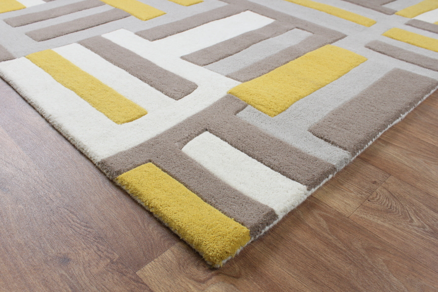 Black And Yellow Kitchen Rug