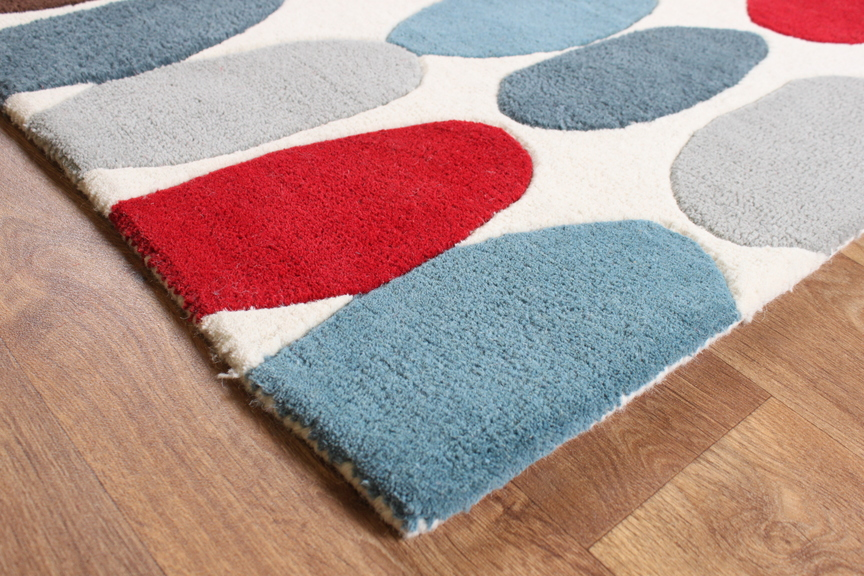 matrix sofia red / teal thick wool rug - max33 - martin phillips