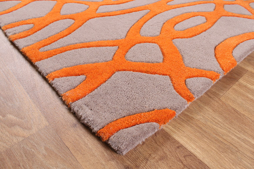 Matrix Wire Orange Grey Thick Wool Rug Max37
