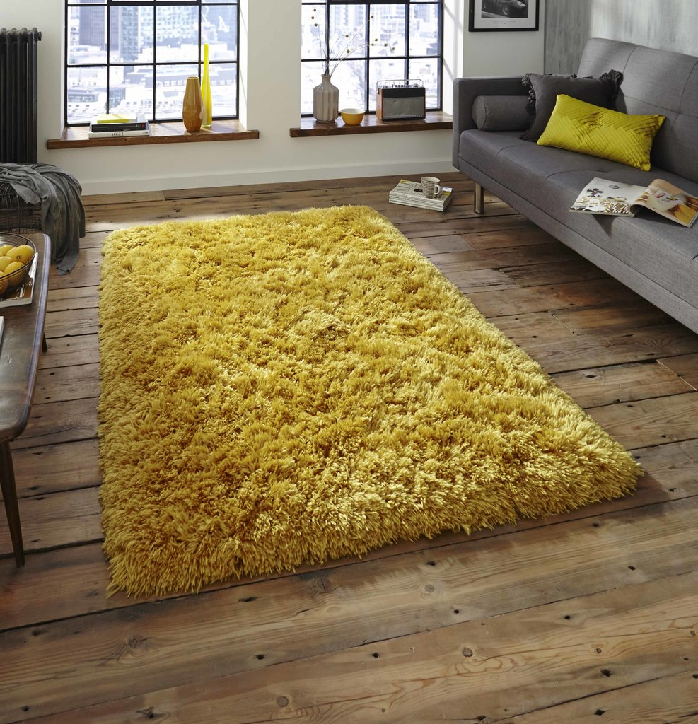 Nordic thick shaggy rug mustard yellow martin phillips carpets - Jaune moutarde decor ...