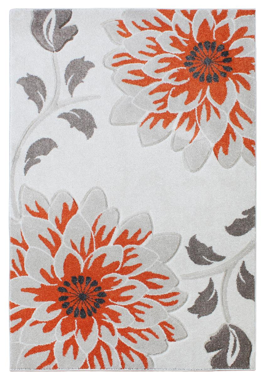 Passion Floral Orange Grey Cream Rugs Martin