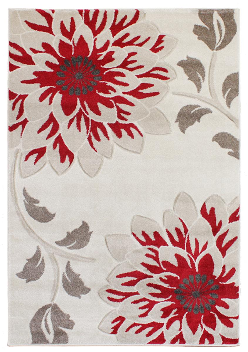 Passion floral red grey cream rugs for Cream and red rugs