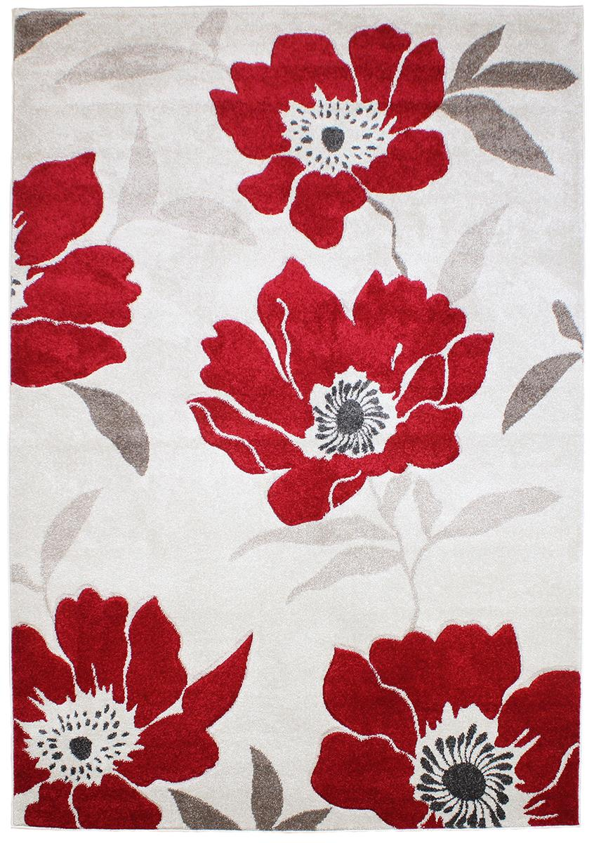 Passion Flower Red Grey Rugs Martin Phillips Carpets